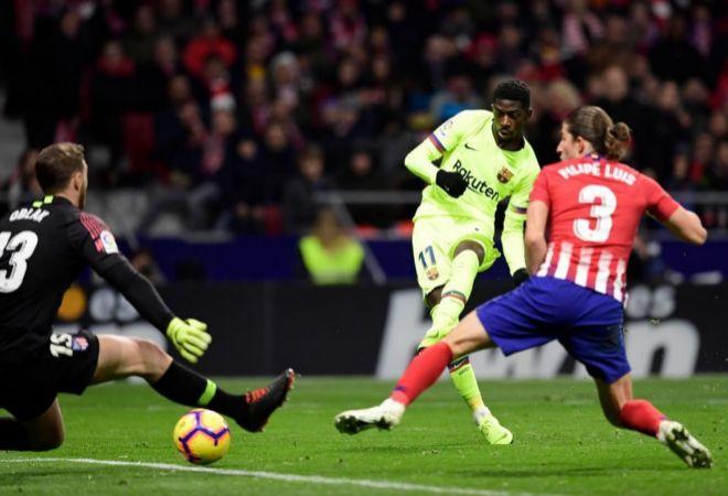 Dembélé marca el único gol del Barcelona en el Wanda Metropolitano.