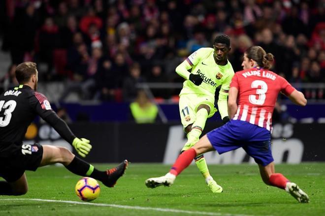 Ousmane Dembele anota el gol del empate en el Wanda.