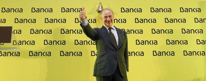 El ex presidente de Bankia, Rodrigo Rato, el día de la salida a Bolsa del banco, el 21 de julio de 2011.