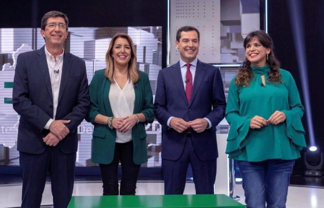 Juan Marín, Susana Díaz, Juanma Moreno y Teresa Rodríguez,...