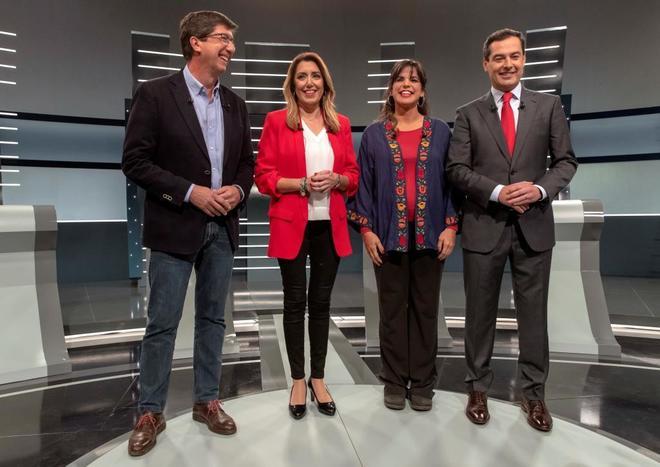 Los cuatro candidatos a la presidencia de Andalucía, Juan Marín, Susana Díaz, Teresa Rodríguez y Juanma Moreno, durante el debate de TVE