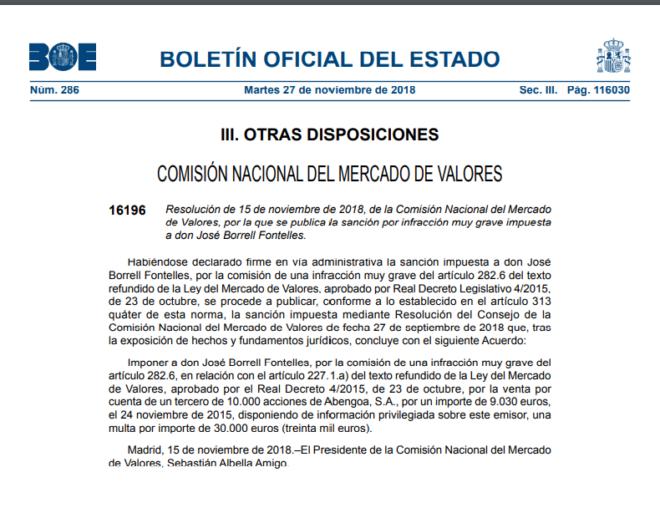El BOE publica la sanción de 30.000 euros de la CNMV a Borrell por usar información privilegiada de Abengoa
