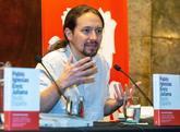 El líder de Podemos, Pablo Iglesias, en una presentación este lunes.