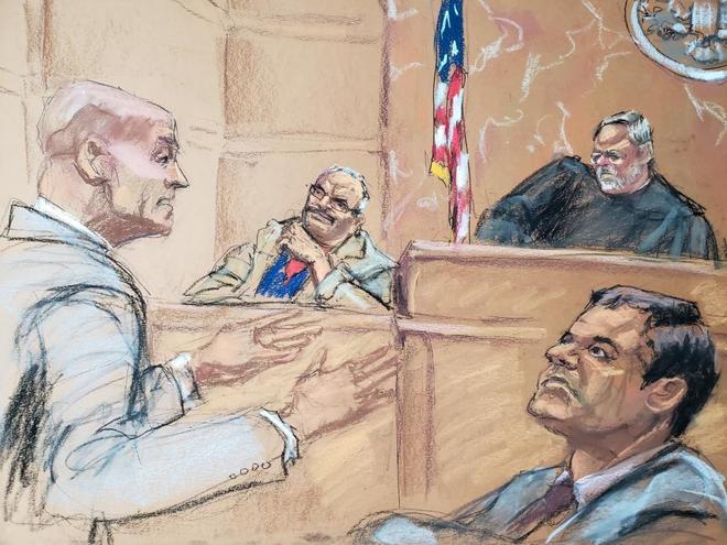 Reproducción de el Chapo Guzmán durante el juicio.