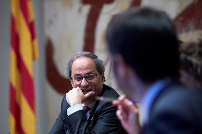 El president Torra durante la reunión del Consell Executiu.