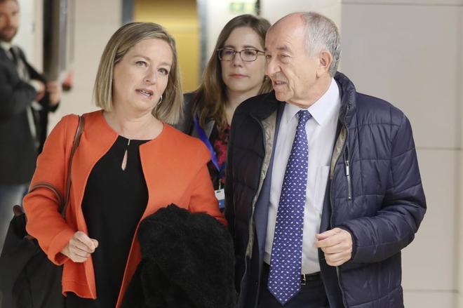 La presidenta de la comisión de investigación de la crisis, Ana Oramas, junto al ex gobernador del Banco de España, Miguel Ángel Fernández Ordóñez.