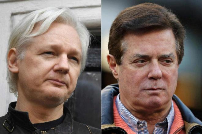 El fundador de Wikileaks, Juan Assange, y el ex jefe de campaña de Donald Trump, Paul Manafort.