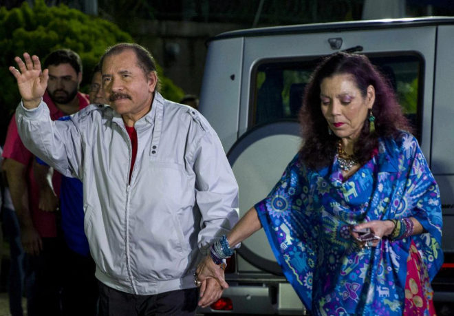 El presidente de Nicaragua, Daniel Ortega, y su esposa, Rosario Murillo.E