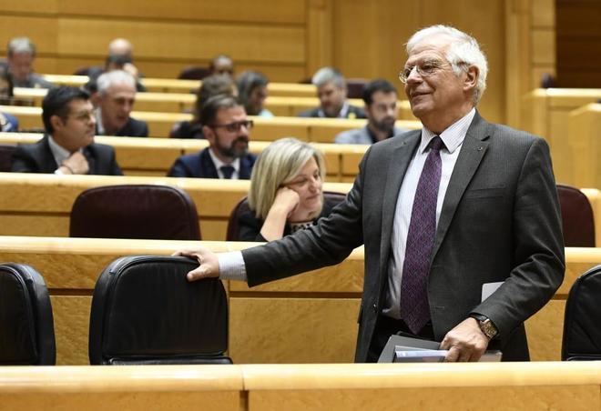 Josep Borrell, durante una sesión de control al Gobierno en el Senado.