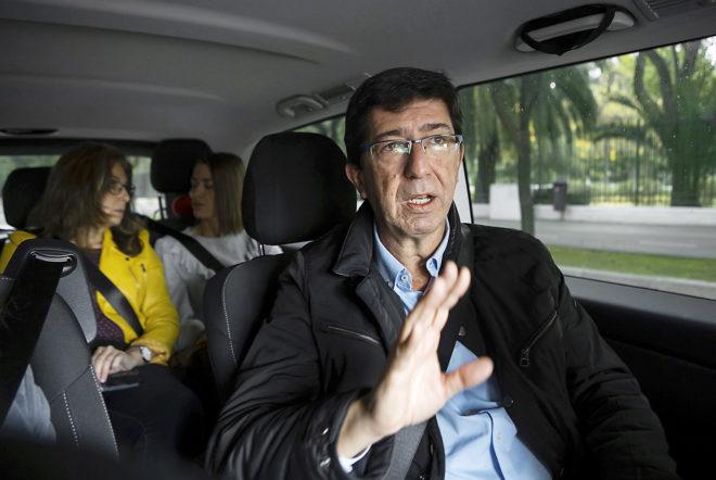 El candidato de Ciudadanos, Juan Marín, durante un acto de campaña