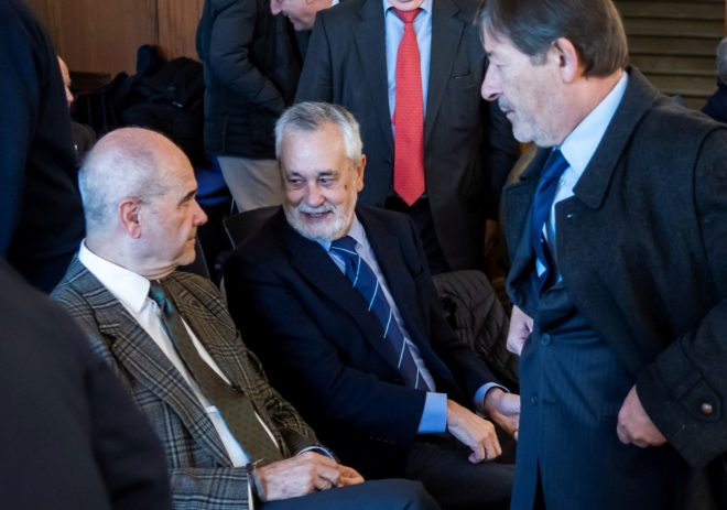 Manuel Chaves, José Antonio Griñán y Javier Guerrero en el juicio por la pieza política del caso de los ERE.