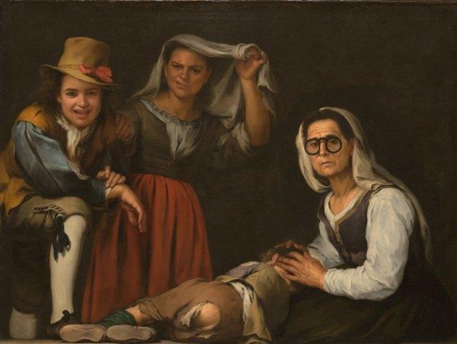La pintura 'Cuatro figuras en un escalón', de Murillo, que se expone...