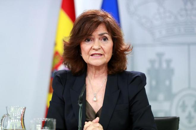 Carmen Calvo, vicepresidenta del Gobierno, en rueda de prensa tras el Consejo de Ministros.