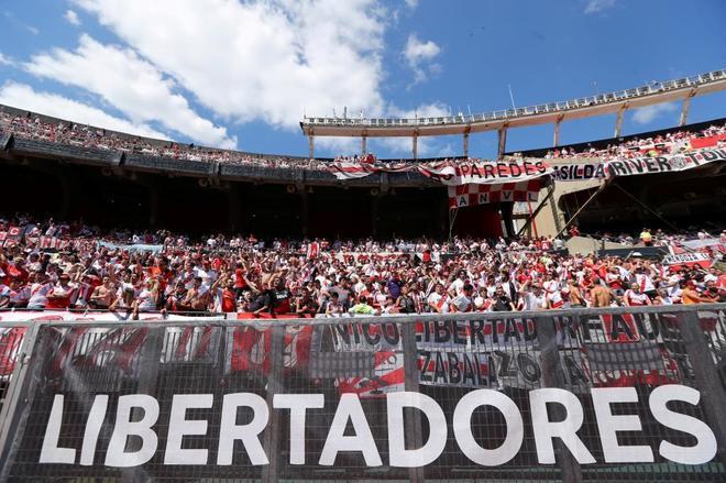 Imagen de la afición de River dentro del estadio Monumental, el pasado sábado.