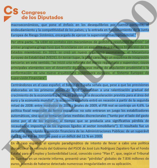 TACHÓN A QUE FIGURE EL PLAN DE ZAPATERO. Extracto de la opinión del Grupo Socialista a la propuesta de Cs de redacción del informe de la crisis. Según las reglas internas de la comisión, verde significa aceptado; azul, negociable; y anaranjado, veto.
