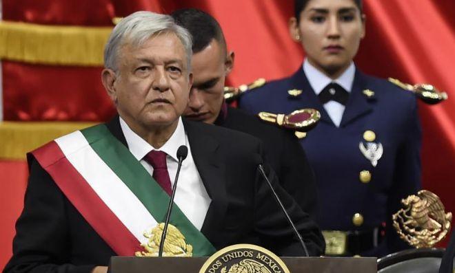 Andrés Manuel López Obrador, durante su primer discurso como presidente.