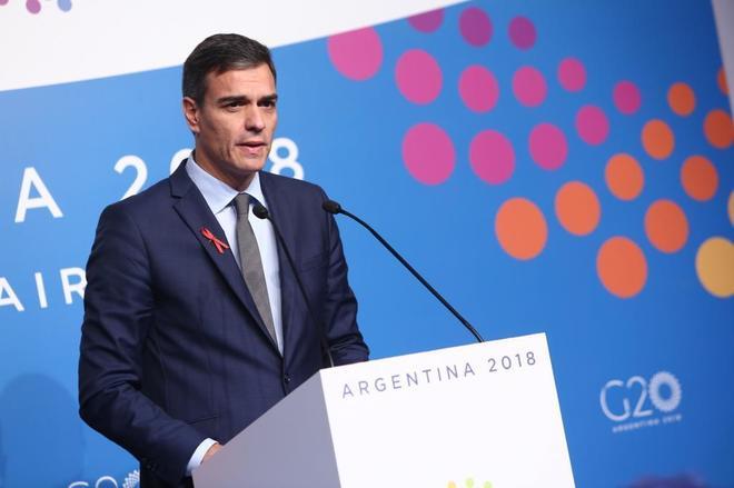 Pedro Sánchez, en rueda de prensa tras la cumbre del G20 en Buenos...