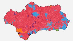 Mapa interactivo: quién ha ganado en cada municipio de Andalucía
