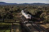 El tren con destino Madrid atraviesa una dehesa de encinas junto a...