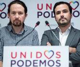 Pablo Iglesias y Alberto Garzón, durante su comparecencia tras los...