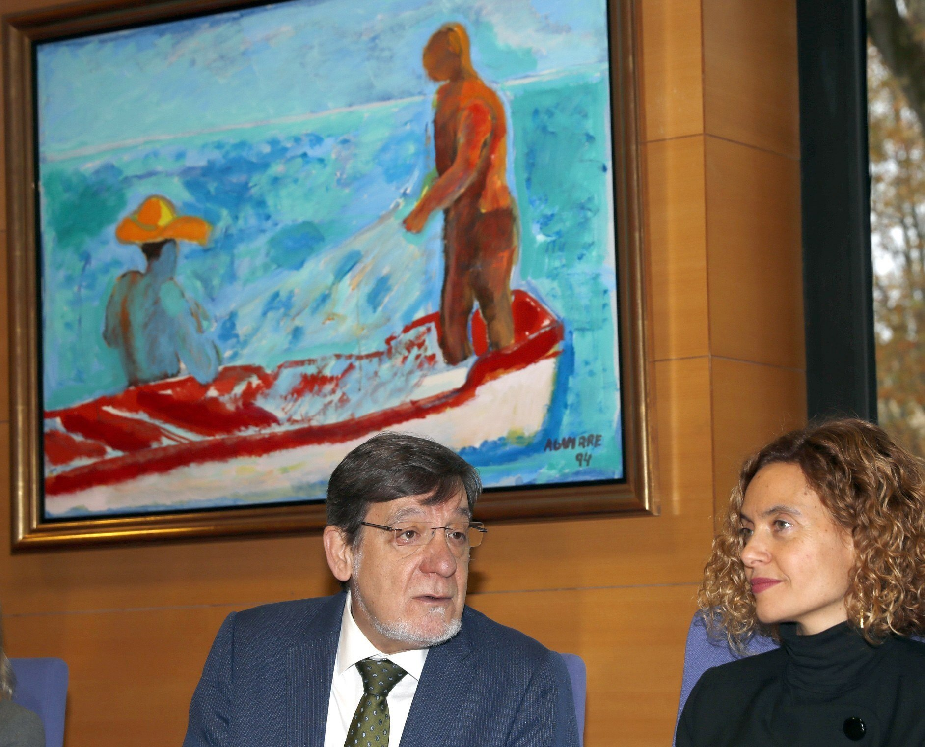 La ministra Meritxell Batet junto al presidente del TSJPV Juan Luis Ibarra en Bilbao.