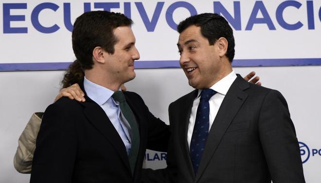 Pablo Casado y Juanma Moreno, tras la reunión del Comité Ejecutivo...