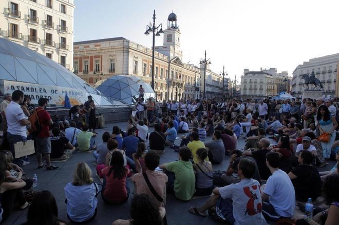 'Indignados' en las protestas de mayo de 2011.