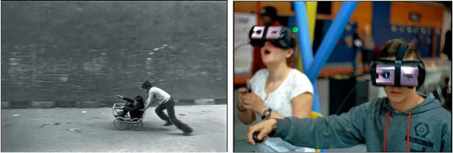 Dos niños jugando en una calle en España en 1978. | Dos niños...