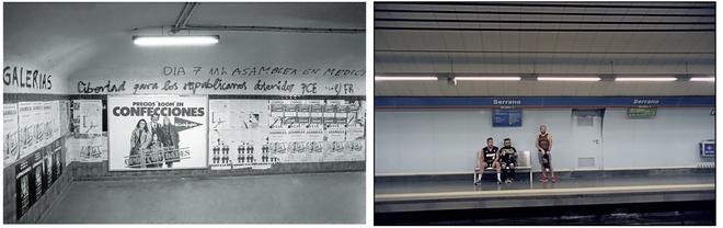 Carteles y pintadas de carácter político en el metro de Madrid en...