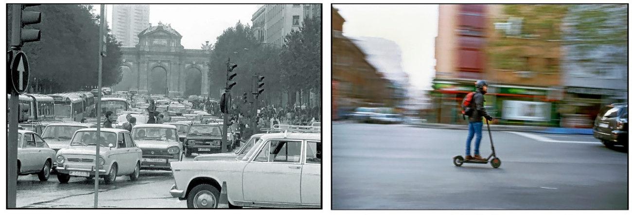 Madrid, 9 de noviembre de 1978.- Congestión de tráfico en las...