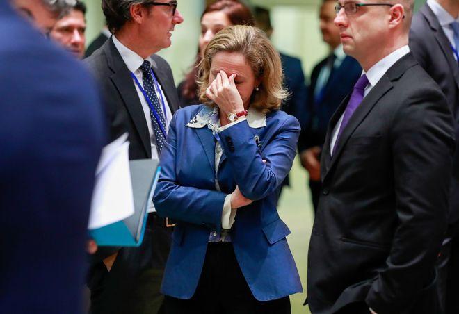 La ministra de Economía, Nadia Calviño, ayer en Bruselas.