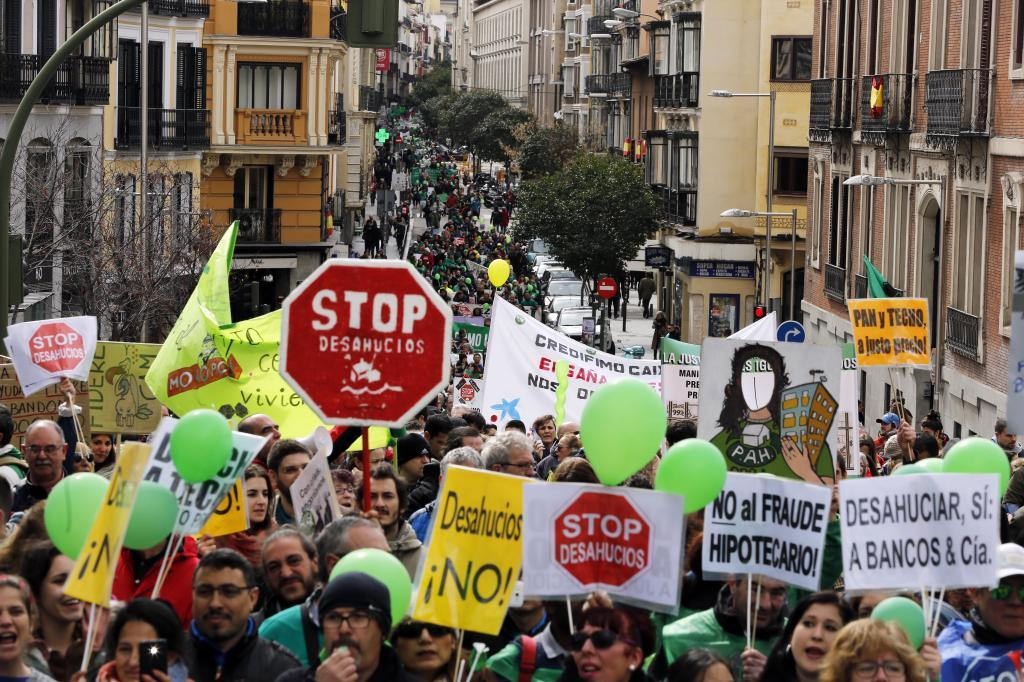 Manifestación por el derecho a la vivienda en Madrid.