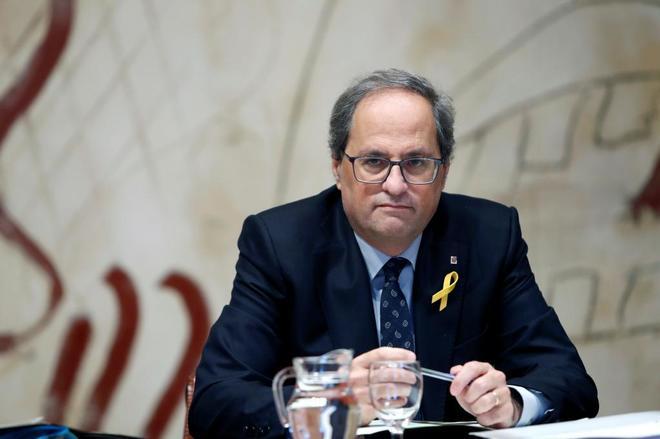 El presidente de la Generalitat, Quim Torra, durante la reunión semanal del Gobierno catalán.