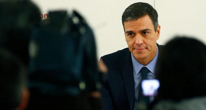 El presidente del Gobierno, Pedro Sánchez, ayer, en la sede del PSOE.