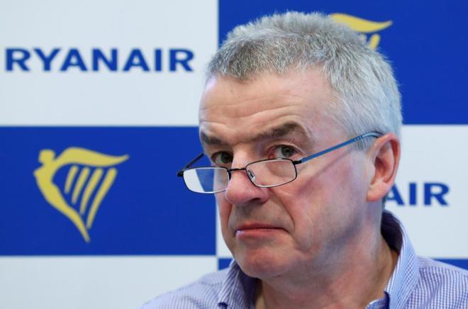 El consejero delegado de Ryanair, Michael O'Leary, en una conferencia en Bruselas.