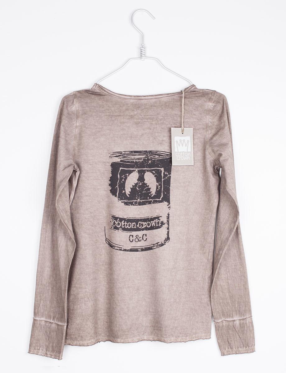 Camiseta vintage marrón con dibujo de lata de tomate (24 euros).