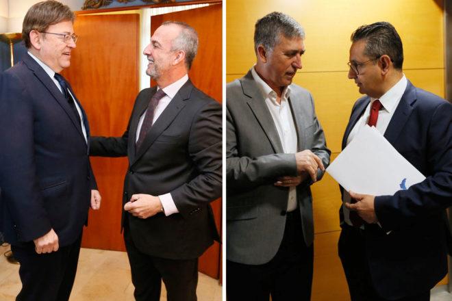 A la izquierda, Puig con el presidente de CEV Alicante, Perfecto Palacio, este miércoles en Alicante; a la derecha, el conseller Climent, con Juan José Sellés, presidente de Uepal, también el mismo día en Alicante.