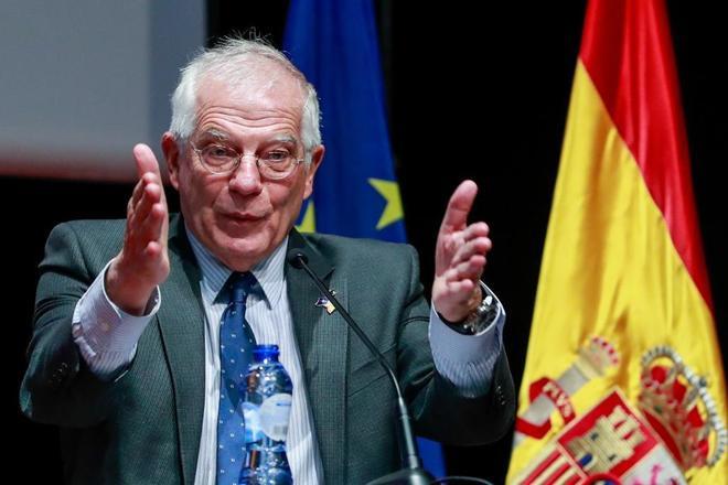 El ministro de Asuntos Exteriores, Josep Borrell, durante su acto en Bruselas