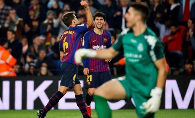 Denis Suárez festeja uno de sus goles al