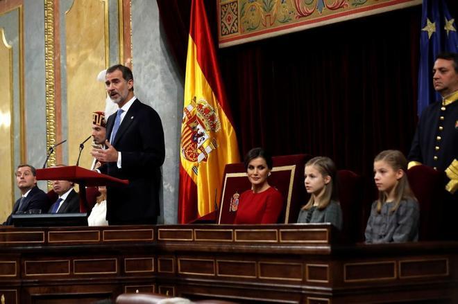 El Rey Felipe VI, durante su discurso en el Congreso con motivo de los...