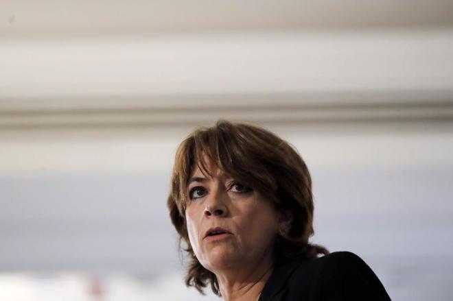 La ministra de Justicia, Dolores Delgado, durante un desayuno informativo