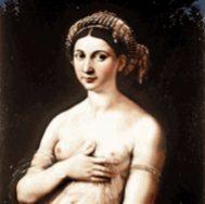 Retrato de su amante la Fornarina, del pintor Rafael, en 1516.