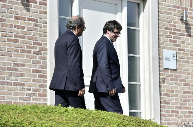 Quim Torra y Carles Puigdemont, durante una visita del presidente de la Generalitat a Waterloo.