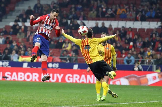 Kalinic marca el tercer gol del Atlético, el pasado miércoles, ante el Sant Andreu.