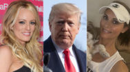 La actriz porno Stormy Daniels, Donald Trump y la chica Playboy Karen McDougal.