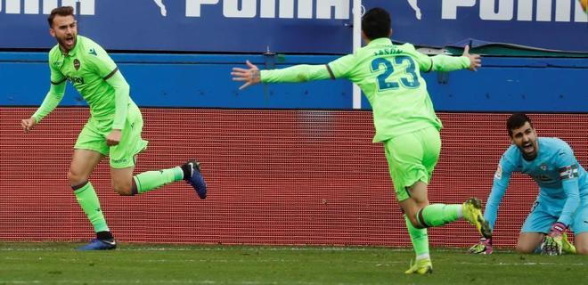 Borja Mayoral celebra el gol del empate del Levante, en el último minuto.