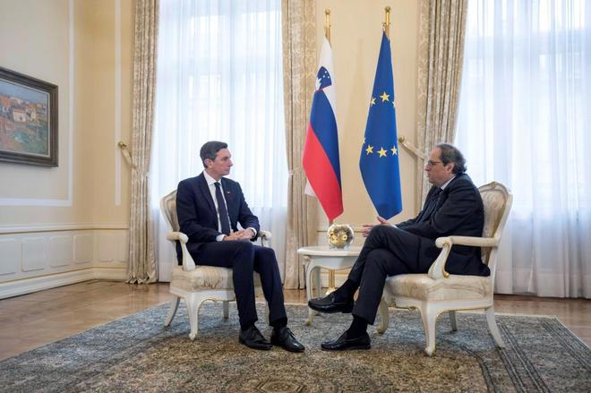 Torra,durante su reunión el pasado jueves con Borut Pahor, presidente...