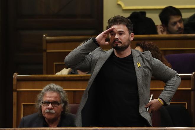 El diputado Gabriel Rufián en el Congreso de los Diputados el pasado mes de noviembre.