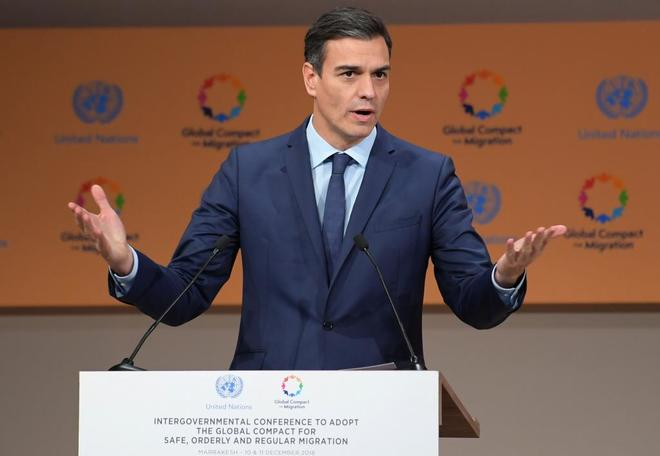 El presidente del Gobierno, Pedro Sánchez, en su intervención en la cumbre de la ONU en Marruecos.