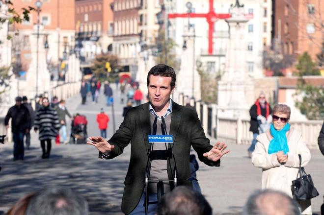 El presidente del PP, Pablo Casado, en Teruel el pasado viernes.